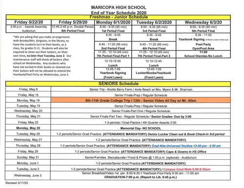 End Of Year Schedule 19-20